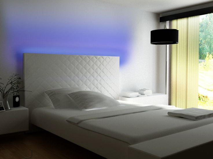 cabecero de diseo moderno en color blanco con led integrado color azul cabecero