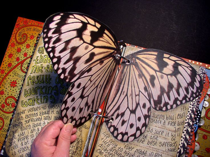 LOVE this idea - butterflies in the journal -- You could do this with other symmetrical (or even asymmetrical) additions too, like bird wings, or flowers, or tree shapes.