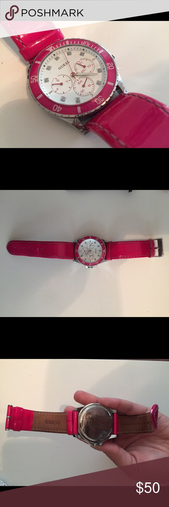 Guess Watch on sale!! Pink Guess watch on sale.Its in decent condition.All offers r accepted!! Guess Accessories Watches