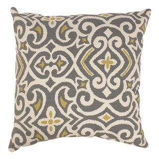 Pillow Perfect Grey/ Greenish-Yellow Damask Throw Pillow- need pillows for our living room, this is a possibility