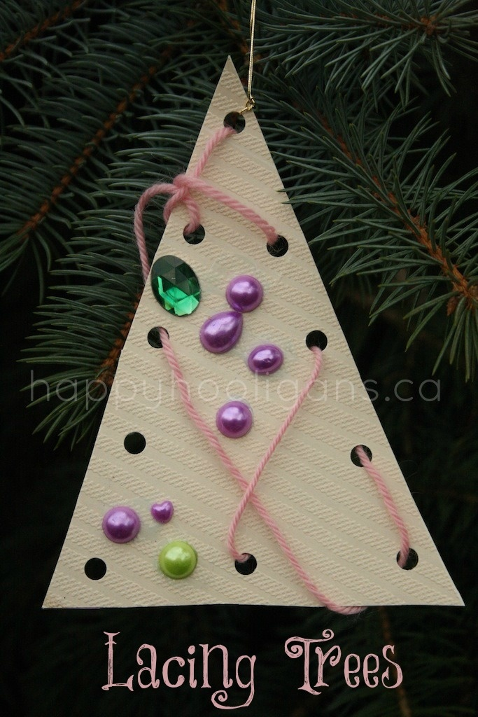 lacing trees - a lacing activity and tree ornament all in one - happy hooligans