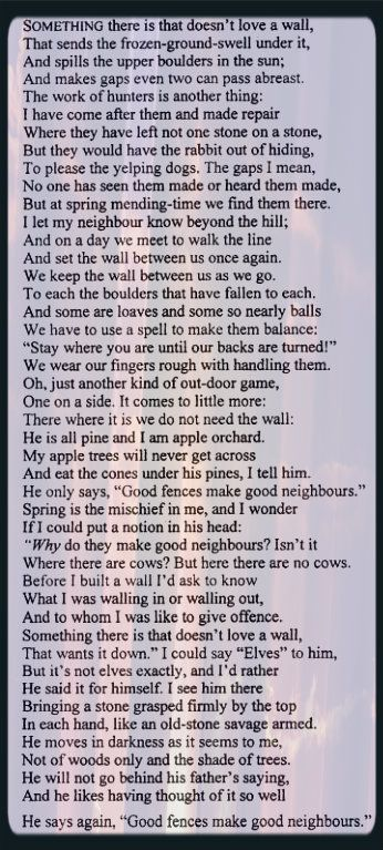 Essay of mending wall