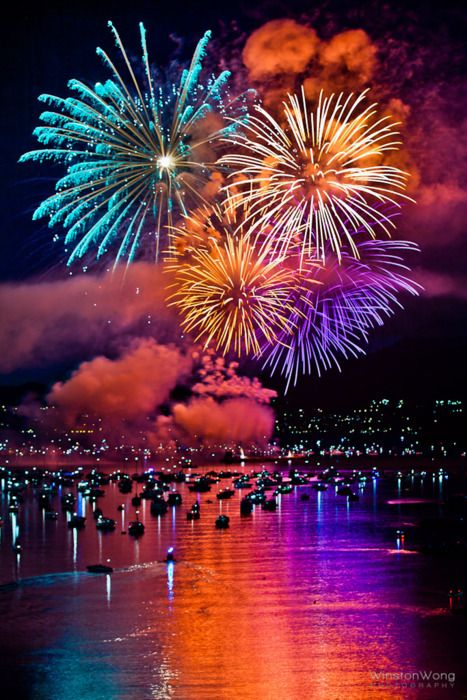 #Vancouver   Every year in late July and early August the city hosts 3 to 5 nights of fireworks.   This was taken from Burrard Bridge overlooking English Bay.