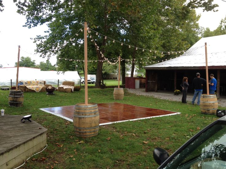 Whiskey Barrel With 10 Tall Wood Pole In Center For