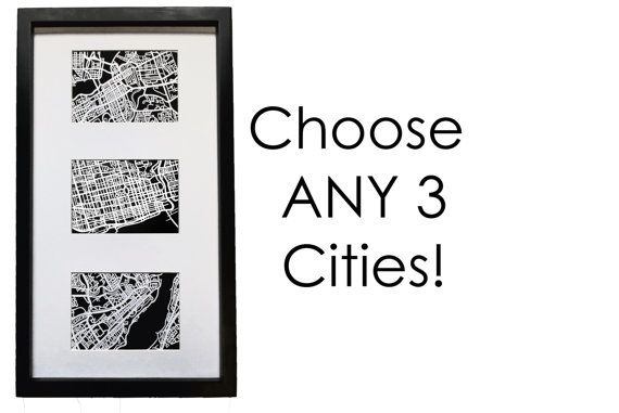 Paper cut map, Trio of ANY 3 cities | 4x6 maps (x3) | FRAMED! Valentine's Day Special!