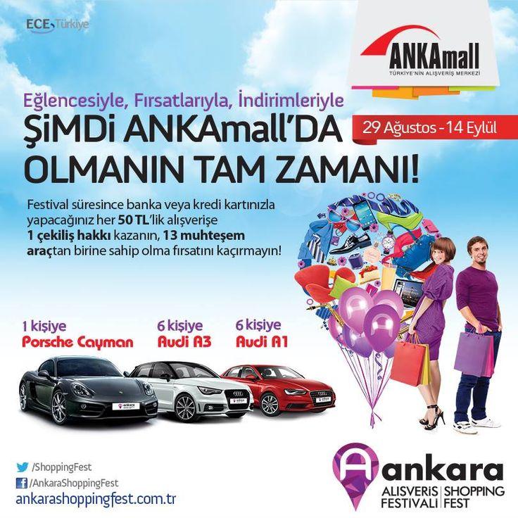 Eğlencesiyle, fırsatlarıyla, indirimleriyle şimdi #ANKAmall'da olmanın tam zamanı! Festival süresince (29 Ağustos – 14 Eylül) banka veya kredi kartınızla yapacağınız her 50 TL'lik alışverişe 1 çekiliş hakkı kazanın, 13 muhteşem araçtan birine sahip olma fırsatını kaçırmayın!
