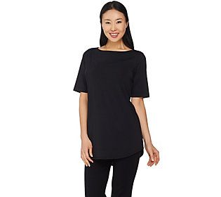 Joan Rivers Jersey Knit Long Tee Shirt with Shirt Tail Hem