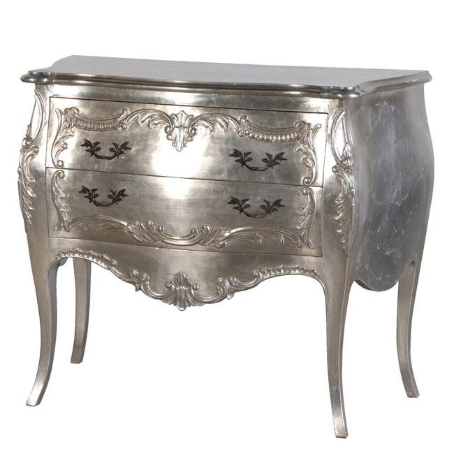 Silver Leaf 2 Drawer Carved Bombe Chest | French Bedroom Furniture