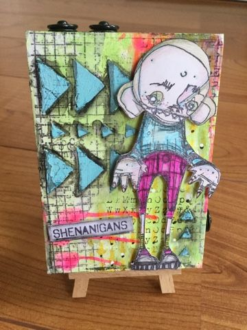 A wooden tray that had Prima embellishments in.   Very mixed media and had lots of fun creating it over a few weekends.   Finishing ...
