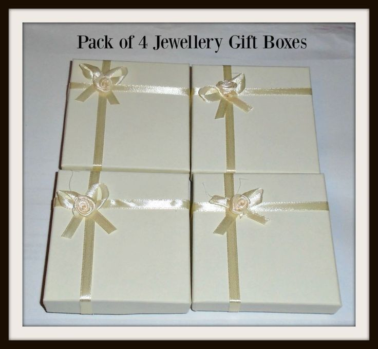 JEWELLERY GIFT BOXES IN IVORY WITH SATIN BOW - Packs of 4 - Bracelets/Sets NEW