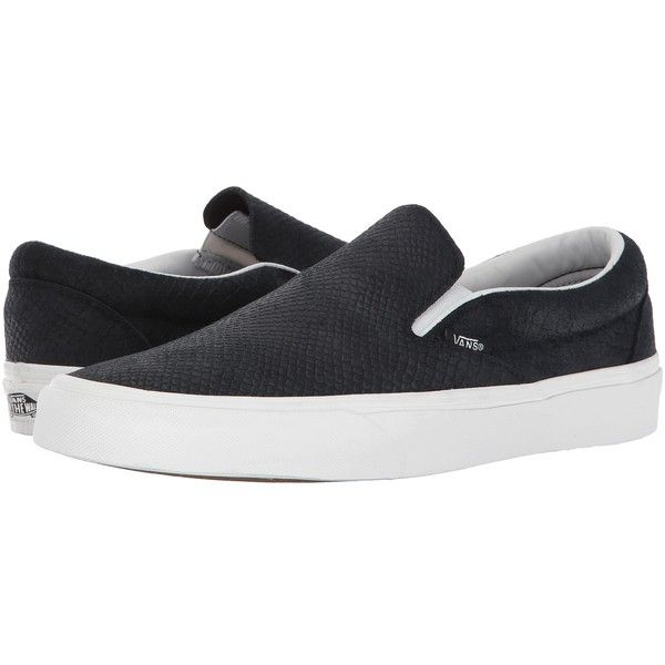 Vans Classic Slip-On ((Snake) Black/Blanc) Skate Shoes (200 BRL) ❤ liked on Polyvore featuring shoes, sneakers, black slip on shoes, leather slip-on shoes, black slip-on shoes, leather slip on shoes and sperry top-sider shoes