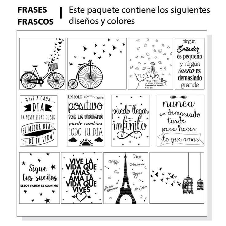 12 Etiquetas Para Frascos, Frases, Vinilo Transparente - $ 120,00