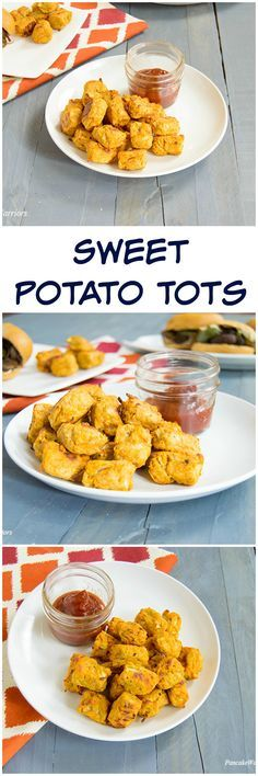 Sweet Potato Tots! T     Sweet Potato Tots! These healthy tots are baked in the oven but still super crispy! Low fat and vegan!