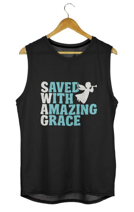 Saved With Amazing Grace T Shirts and Apparel Clothing. Great gift for mom or dad. Christian T-Shirts
