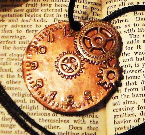 Steampunk Polymer Clay Clock & Gears Necklace by MZEmporium