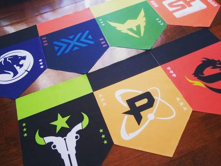 The collection is growing! #overwatch #league #gladiators #nyxl #valiant #shock #outlaws #shangaidragons #philadelfia #fusion #pennants #esty #junkrat #fan #ultimate #gamer #nerd #flag #equipment #ow #seouldynasty #mayhem #spitfire #widowmaker #zarya #hanzo #game #potg