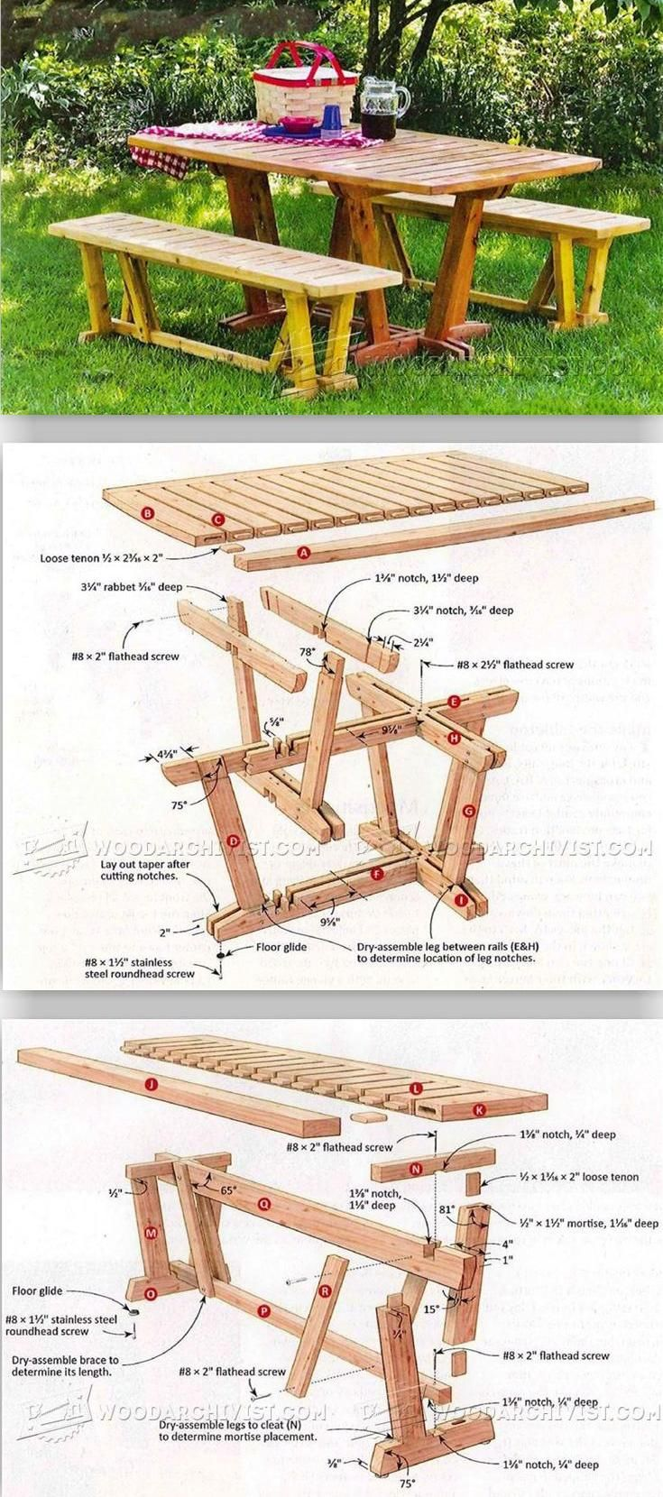Table and Benches - Outdoor Furniture Plans & Projects | WoodArchivist.com