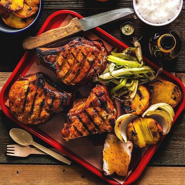 Double Cut Pork Chop with Sweet & Sour Peaches Recipe | Traeger Wood Fired Grills