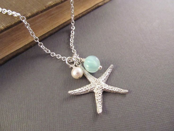 Starfish Necklace, Silver Sea Star with Pearl and Seafoam Dangle, Pendant Necklace, Beach Wedding, Bridesmaid Gift, Fashion Jewelry. $22.00, via Etsy.