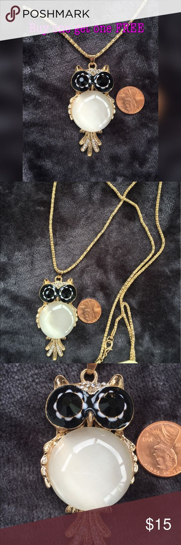 Rhinestones owl pendant necklace gold plated They are even prettier in person. ***BUY 1 Get 1 FREE (equal or less value) - Price is firm except bundle - Bundle: 5% off (2 items), 10% off (3 items), 15% off (4 or more items)  Keyword to what I sell: silver plated jewelry white yellow gold rose gold earrings ring bracelet bangles necklace anklet bracelet baby small medium large huge hoop earrings. Stud earrings Fidget spinners  Dog cat toys cosmetics fashion jewelry emerald cut ring nickel…