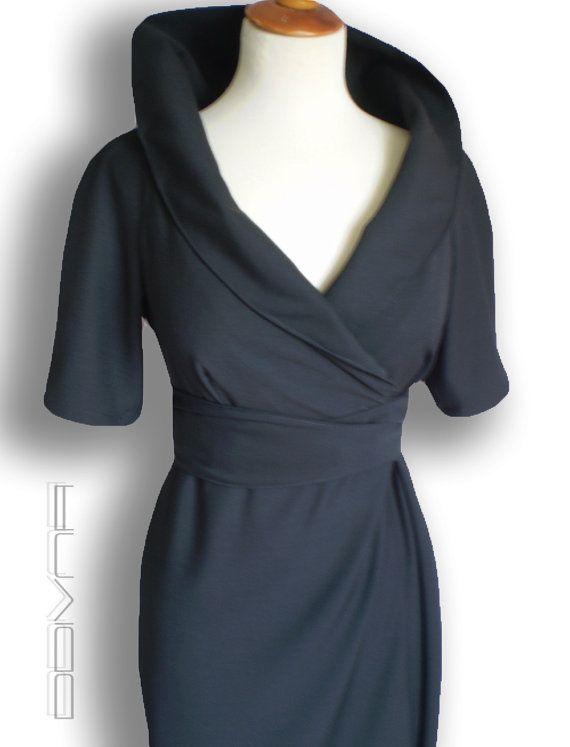 Wrap wool dress in black / Custom made Smart casual Work/ Career Dress for women by FedRaDD