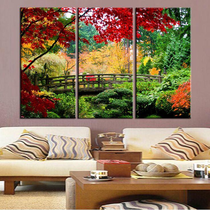 Bridge Scene Wall Art Canvas Painting Landscape Wall Art