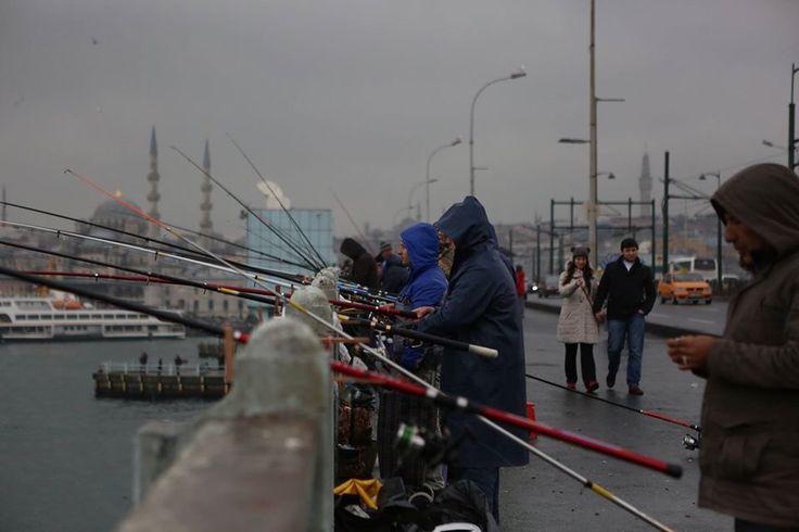 fishermen on the bridge over the Bosphorus in Polis...