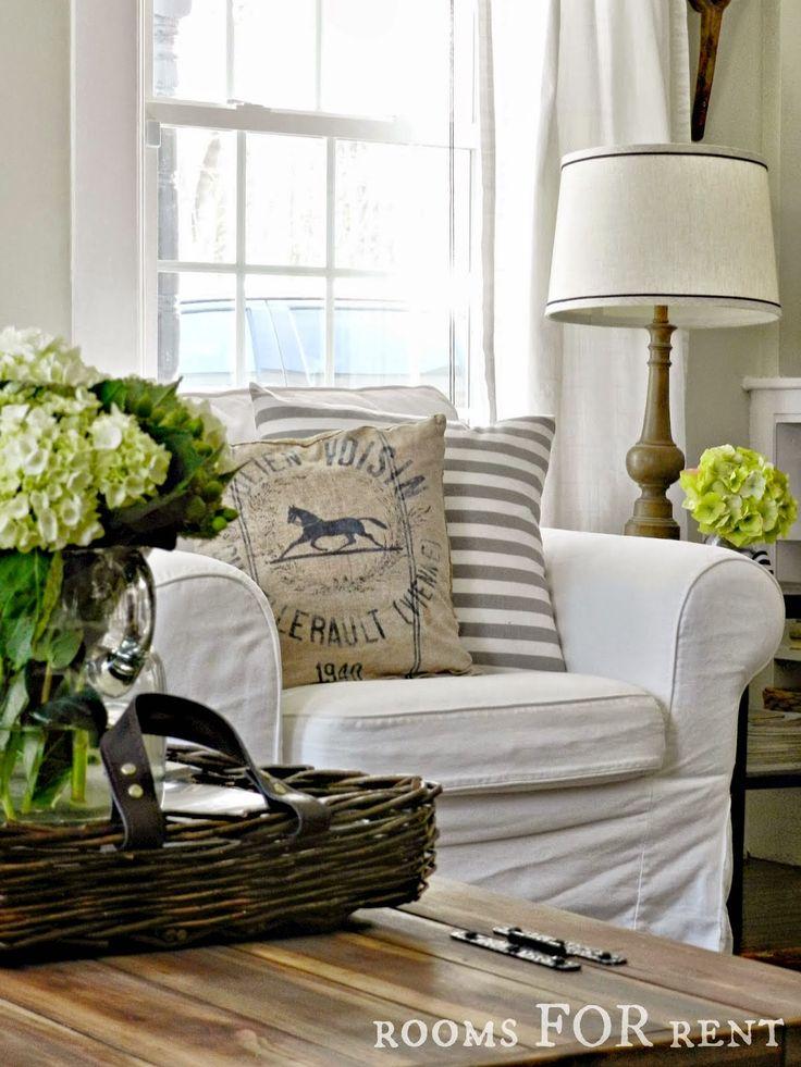 Love the grain sack pillow!