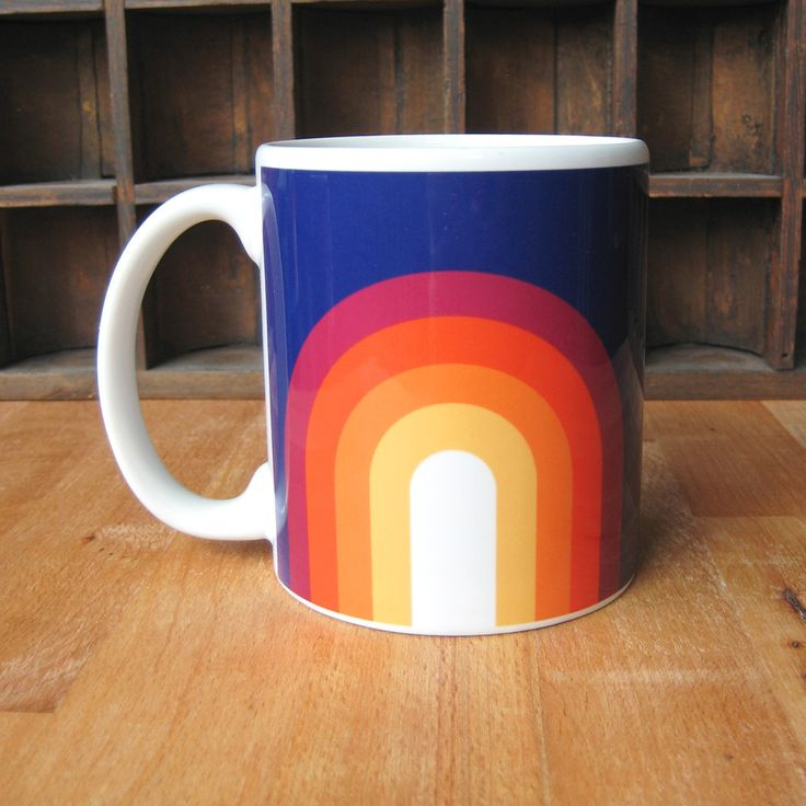 High-gloss mug topped with a bright wraparound graphic, designed and printed in the USA. Applied with a sublimation transfer technique, the colors are super bright and won't fade or chip off with use.