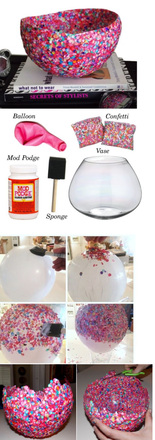 Schaal van confetti, mod podge kun je maken door witte kinderlijm met evenveel water te vermengen(schudden)
