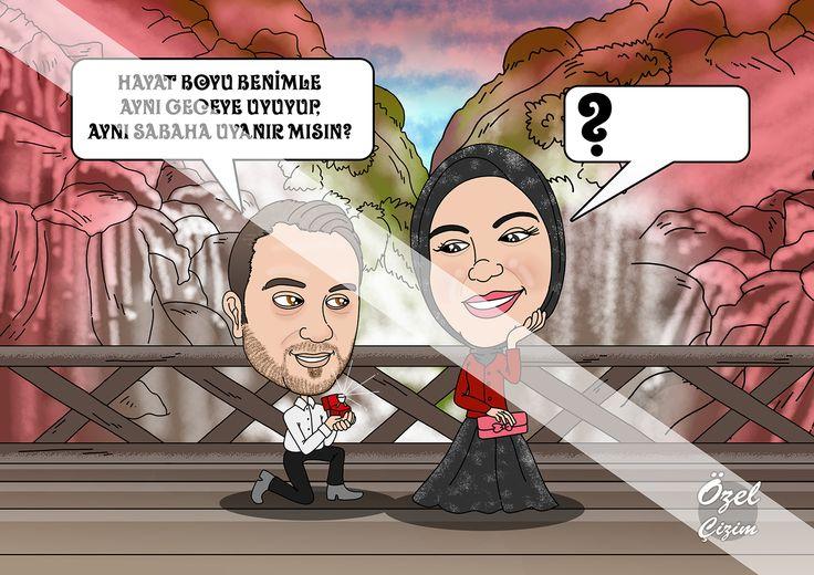 #ozelcizim #karikatur #ask #hediye #sevgili #evlenme #evlilik #evlenmeteklifi #resim #sanat #surpriz