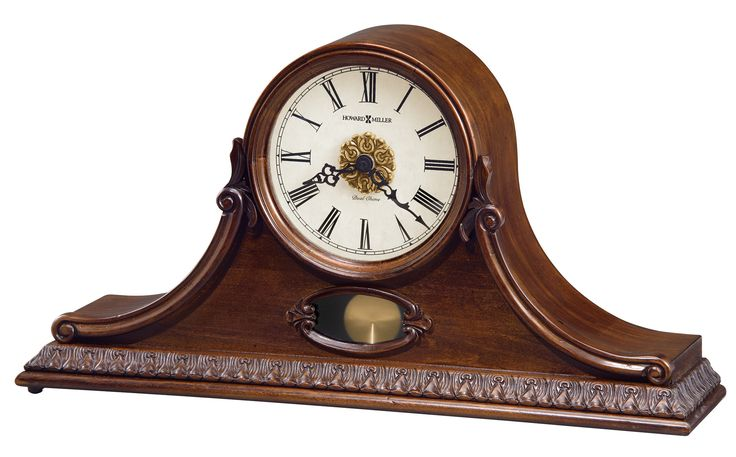Andrea Mantel Clock This classic mantel clock will add beauty to any space. Hampton Cherry finish on select hardwoods and veneers. Quartz, battery-operated, dual-chime Kieninger movement plays full Westminster or Ave Maria chimes with strike on the hour, with optional 4/4 chime feature which plays 1/4, 1/2, and 3/4 chimes accordingly. Volume control, automatic nighttime volume reduction option, and automatic nighttime chime shut-off option. Requires two C sized batteries.