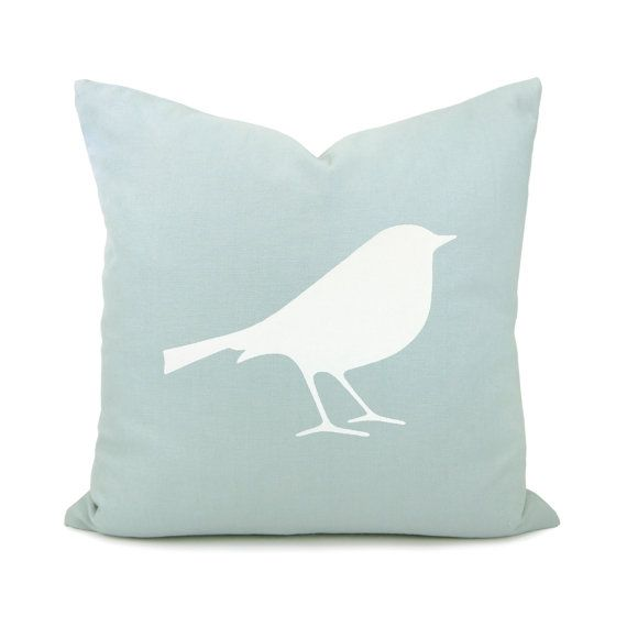 Bird pillow case - White bird print on aquamarine cotton fabric decorative pillow cover - 16x16 accent pillow cover. $30.00, via Etsy.