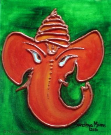 Ganesha — the elephant-deity has an elephantine countenance with a curved trunk and big ears, and a huge pot-bellied body of a human being. He is worshiped as the god of education, knowledge, wisdom and wealth.