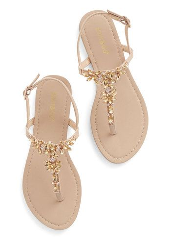 Shine Like You Mean It Sandal in Champagne - Flat, Faux Leather, Tan, Gold, Rhinestones, Luxe, Summer, Good, T-Strap, Daytime Party, Variati...