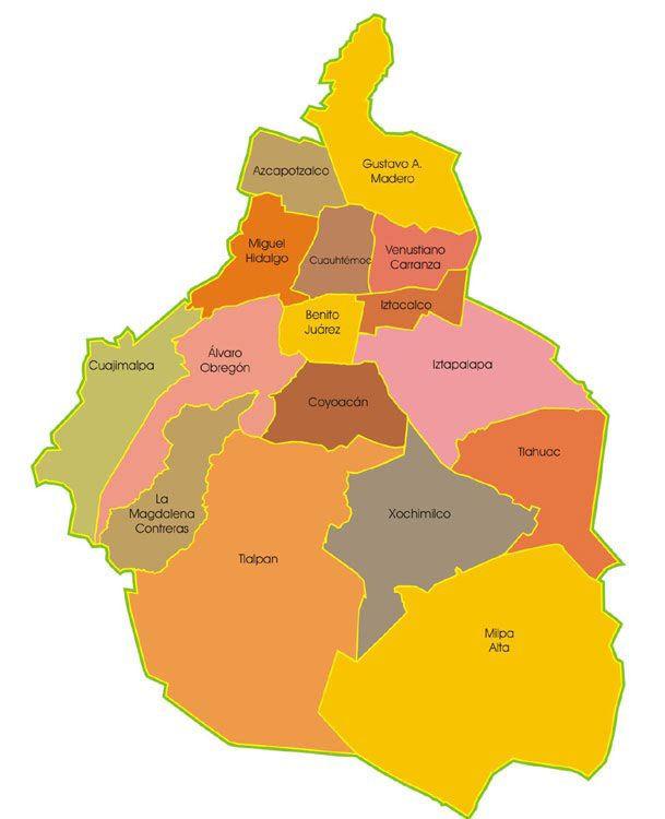 Mapa político de la Ciudad de México DF