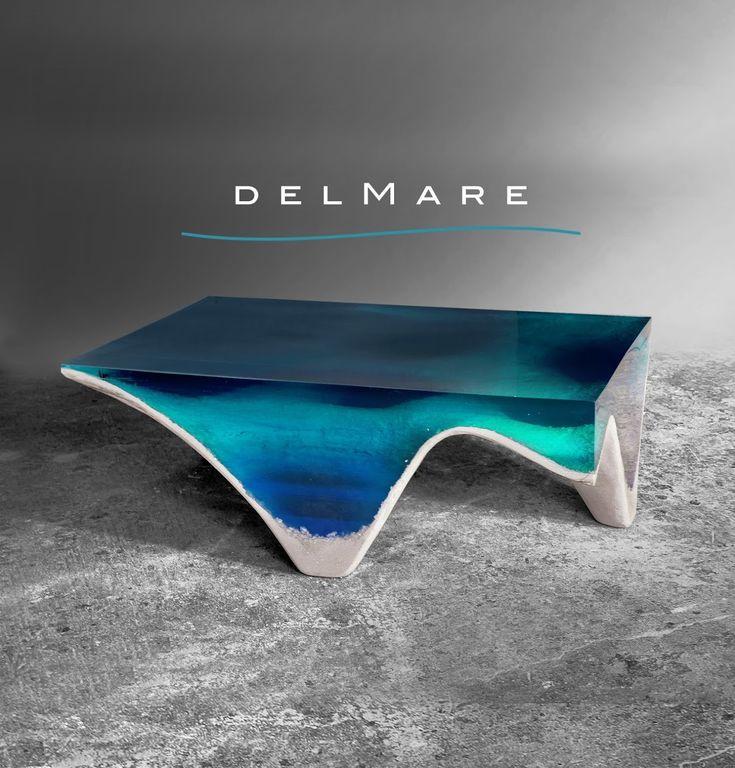 Table delMare en marbre et verre acrylique par Eduard Locota Design Studio