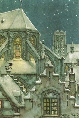 """Snowy Church"" watercolor by Anton Pieck"