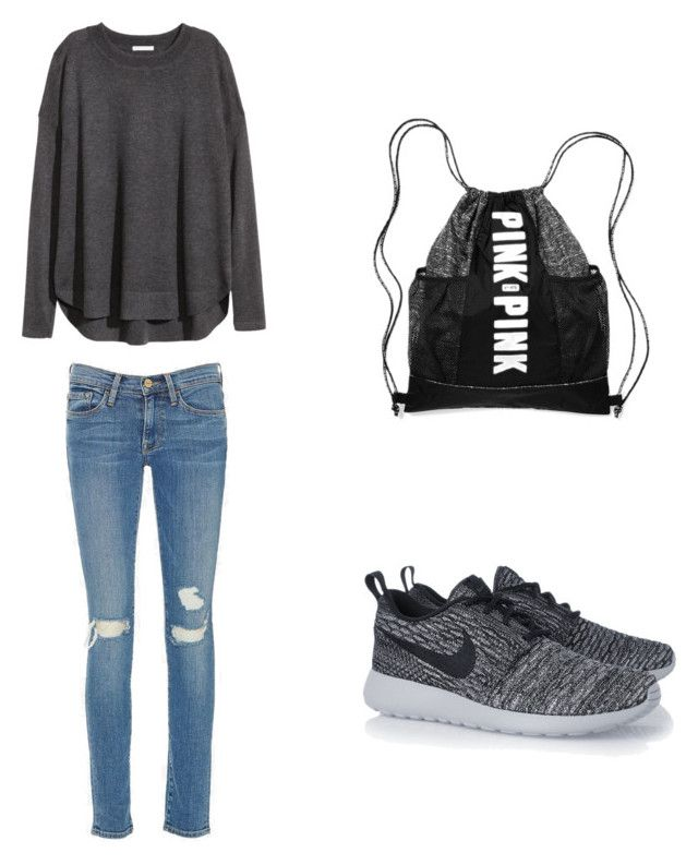 Untitled #2 by monika-machalova on Polyvore featuring polyvore, fashion, style, H&M, Frame Denim and NIKE