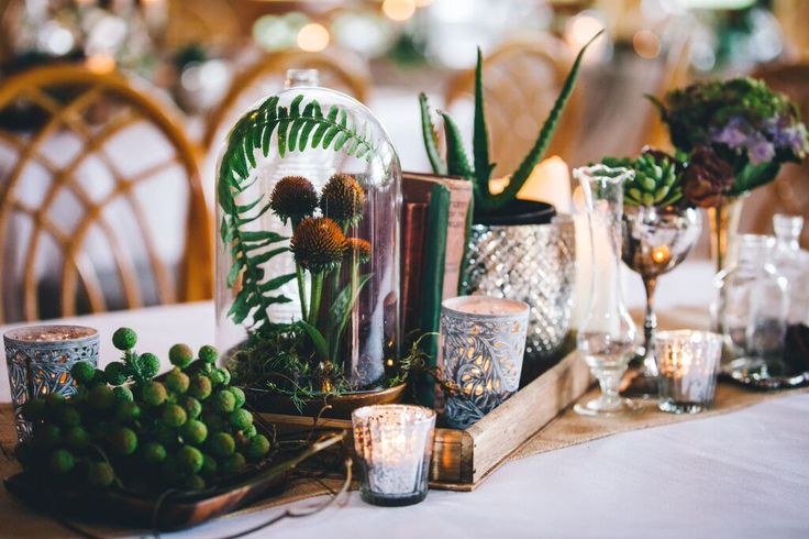 Garden Room Table decorations | set for a beautiful rustic wedding, with candles, books, mason jars, succulents | styled wedding | Eschol Park House