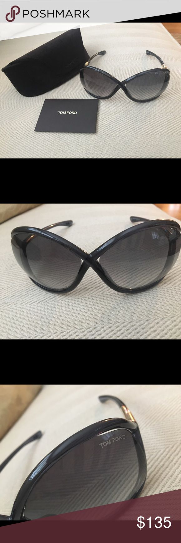 Tom Ford Black Whitney Sunglasses Tom Ford Whitney Sunglasses in Black. 64mm lens width; 14mm bridge width; 110mm temple length. 100% UV protection. Resin frame with black gradient lenses. Glasses, case and authenticity card. Unfortunately I no longer have box or cleaning cloth. No visible scratches or wear. Worn only a few times. Tom Ford Accessories Sunglasses