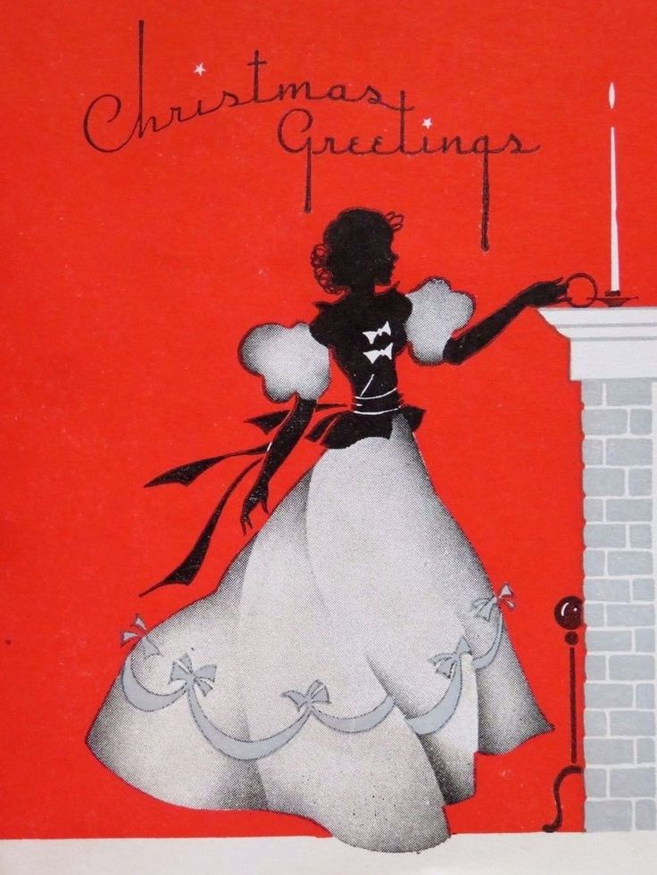 Vintage Christmas Card Pretty Lady Fancy Dress Silhouette Puts Candle on Mantle