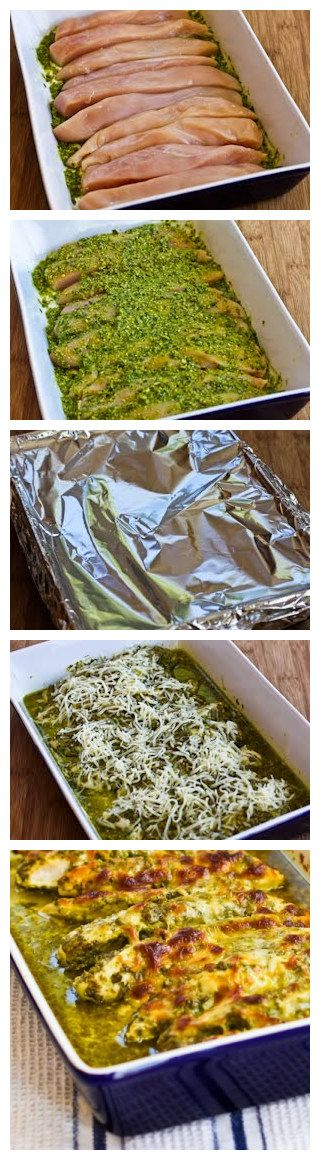 Baked Pesto Chicken..... So moist, baked it at 375 for 30 min (covered), then broiled with cheese for 5 min. Perfect!