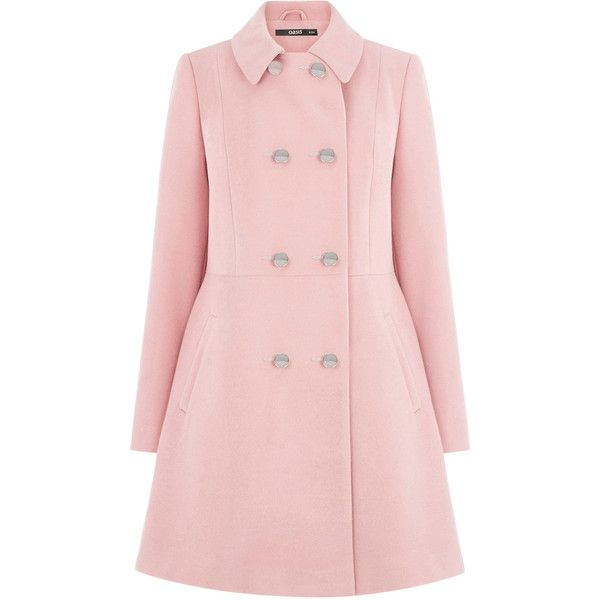 OASIS DB Princess Coat (4,390 THB) ❤ liked on Polyvore featuring outerwear, coats, jackets, pink, oasis coat, pink double breasted coat, pink coat and double breasted coat
