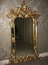 Large Carved Ornate French style Rococo Wall Mirror in Antique Gold