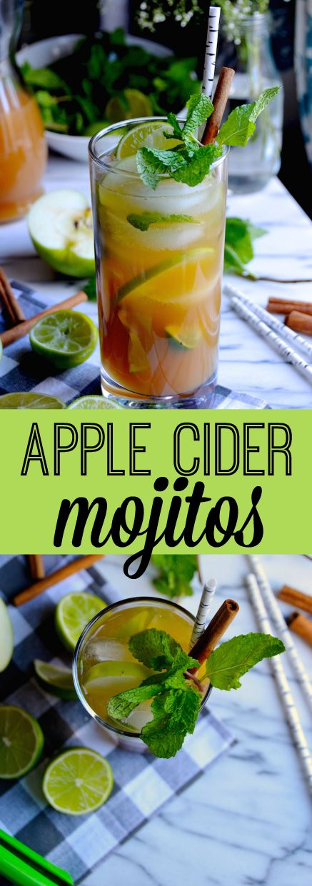 This wintery take on the classic mojito cocktail combines spiced apple cider, mint, rum, and limes. #mojitorecipes