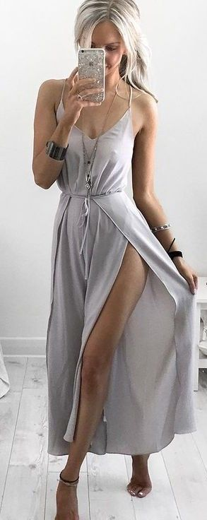 #summer #kirstyfleming #outfits | Grey Maxi Dress