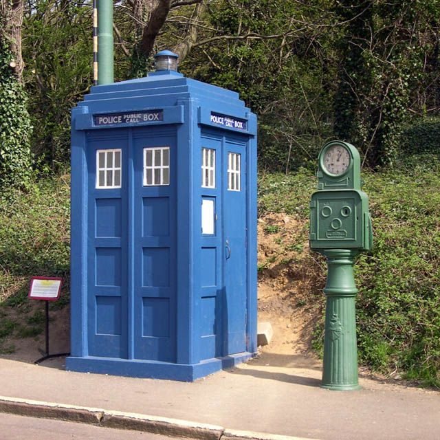 "An old Police Box, now in Crich museum  ~  Looks a little like the ""Tardis ""  from Dr Who !"