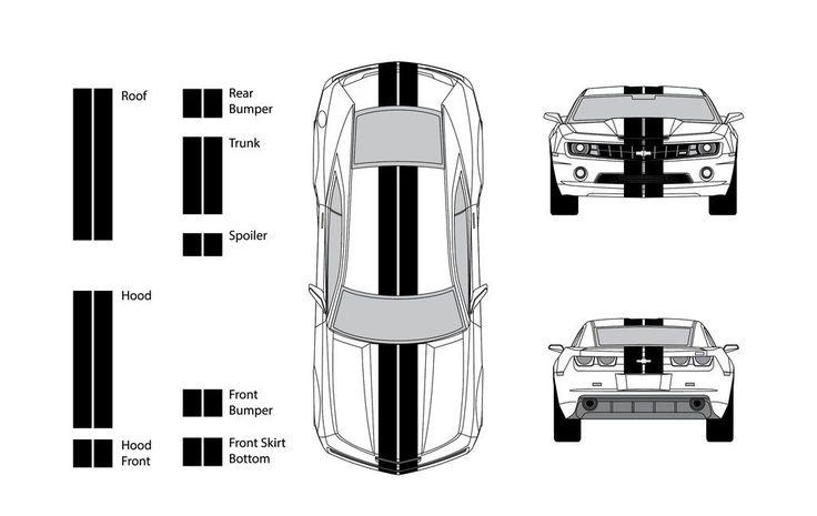 "Chevy Camaro 2012 Dual 8"" Rally Racing Stripes Vinyl Decal Kit"