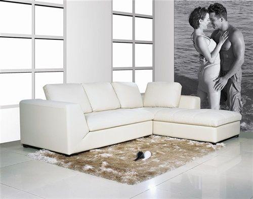 Sofa y Chaise Longue -a izquierda -Mod. DUOMO, similpiel blanca.